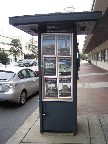 Kiosk on Broughton Street, Savannah, promoting citizen involvement in zoning rewrite
