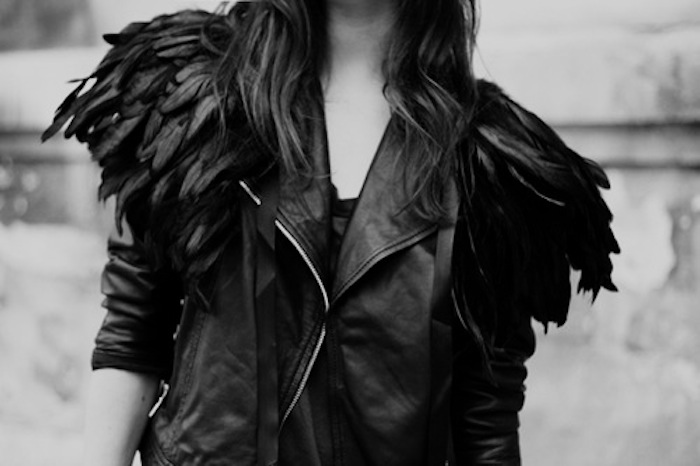 feather leather jacket
