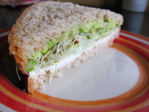 Cucumber cream cheese sandwich, vegetarian sandwich