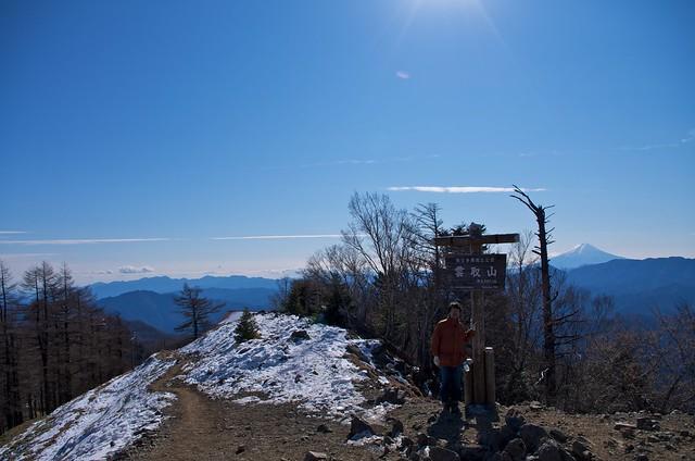 雲取山の山頂にて 2012新年登山
