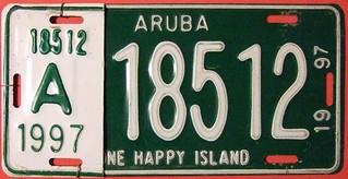 ARUBA 1997 ---LICENSE PLATE