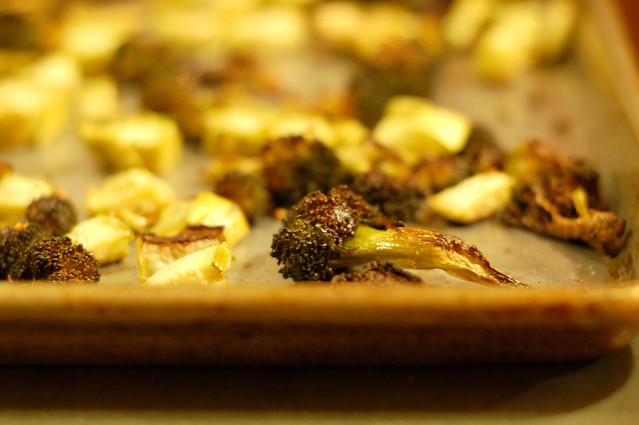 Roasted broccoli with garlic and lemon zest by Eve Fox, Garden of Eating blog, copyright 2012