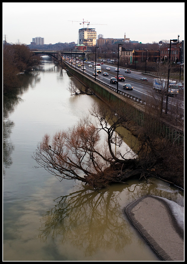 Don River with new Bridgepoint hospital in distance