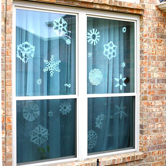window of snowflakes