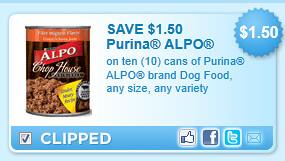 Purina Alpo Brand Dog Food Coupon
