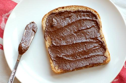 Homemade chocolate hazelnut spread on toast by Eve Fox, Garden of Eating blog, copyright 2012