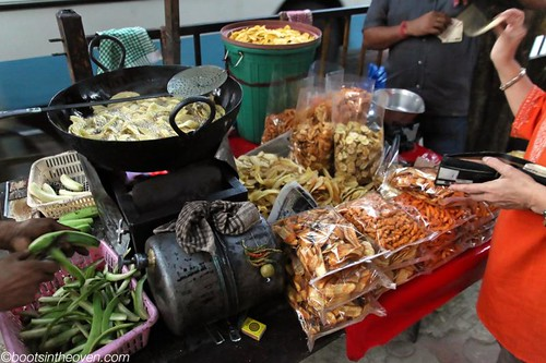 Fried Snack Stand; soya twists, banana...