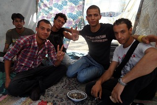 Friends Relaxing in a Tahrir Square Tent.