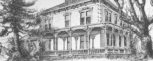 A black and white drawing of the Lake Mansion in the 1800s.
