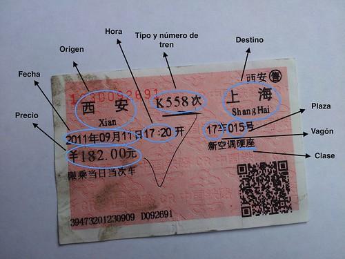 Billete de tren chino