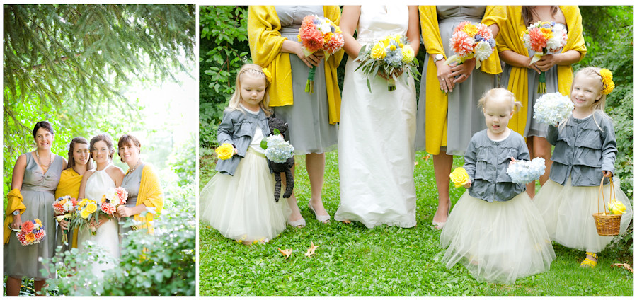 Bridesmaids in grey dresses with mustard yellow pashmina shawl.