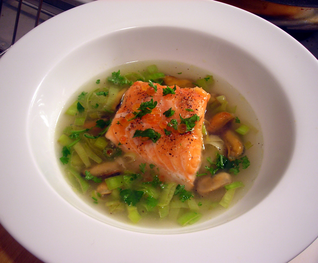 Pan-seared Scottish salmon, with mussel and leek broth