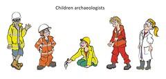 Children Archaeologists - clip art