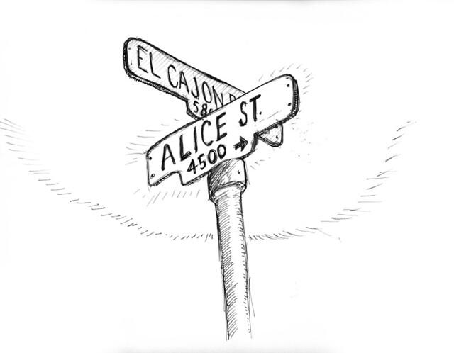 Alice street sign flickr photo sharing for Street sign tattoos