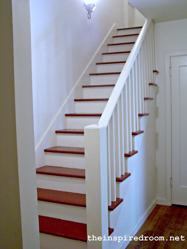 Diy staircase makeover before after the inspired room for Diy staircase makeover