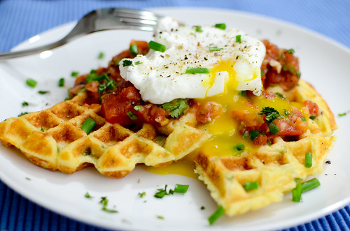 Pink Parsley: Cornmeal-Herb Waffles with Salsa and Poached Eggs