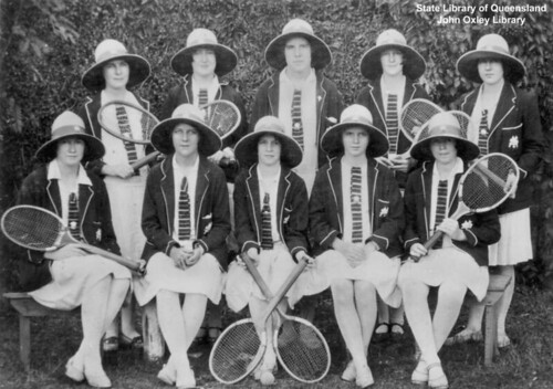 Portrait of St Mary's College tennis team, Charters Towers, Queensland