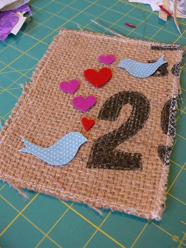 Jenny: WIP Valentine Burlap Art