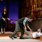 Former boxer Daniel (Bruce McKenzie) teaches Edward (Brian Leahy) a few things about the sport while Marjorie (Leslie Lyles) looks on, in the Huntington Theatre Company's production of