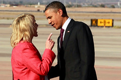 "Arizona Gov. Jan Brewer shaking her finger in President Barack Obama's face. ""Boy, you better listen to me,"" she may have said. Obama soon walked away."
