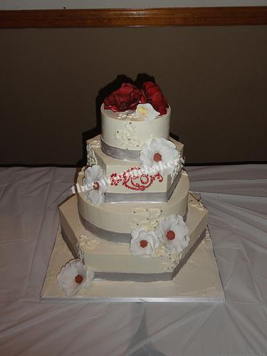 Red and Silver Monogram Winter Wedding Cake
