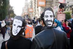 Khaled Said and Mina Daniel marching in Giza خالد سعيد ومينا دانيال في مسيرة الجيزة