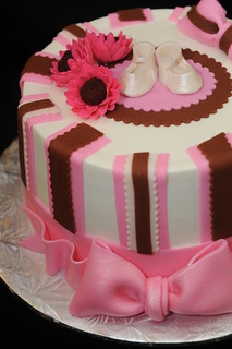 Pink Shower Cake. Butter cream finish fondant accents