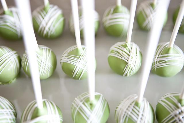Real Wedding Cakepops Pink Green Dessert Display