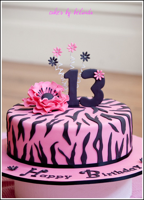 Zebra print birthday cake.  Flickr - Photo Sharing!