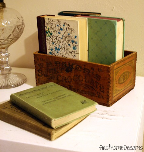 vintage wood box vintage books antique oil lamp
