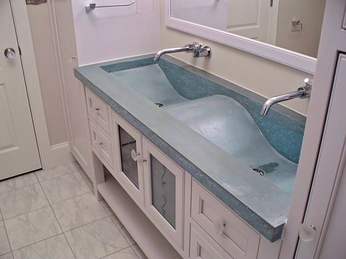 concrete wave sink, coastal bathroom