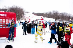 Brady Leman celebrates his World Cup victory in Blue Mountain.