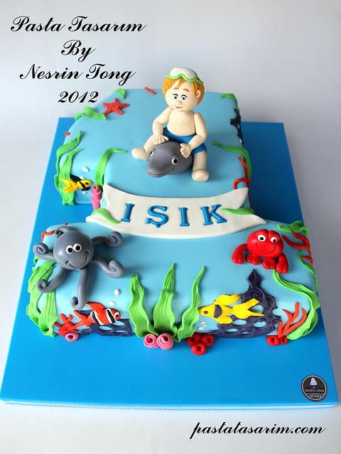 1st birthday cake. - ışık