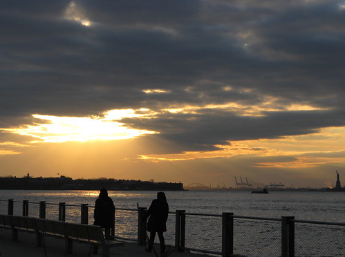 Deep Gray And Gold Before The Sunset, New York Harbor