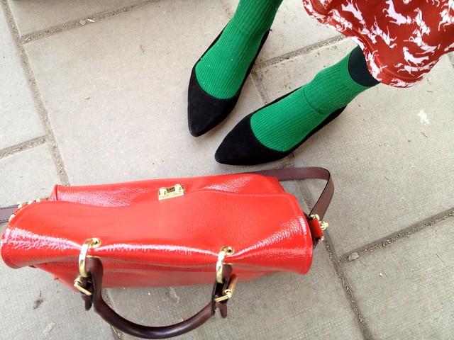 pointy ballerinas + green socks from hm
