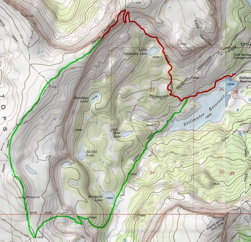 Devil's Causeway Trail, Flat Tops Wilderness Area, Colorado Map