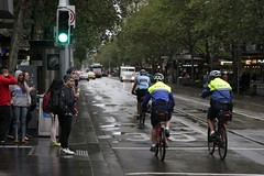 Victoria Police bicycle squad heads down Swanston Street