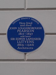 Photo of John Loughborough Pearson and Edwin Landseer Lutyens blue plaque