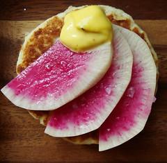 Watermelon Radish & Saffron Rouille Matafan