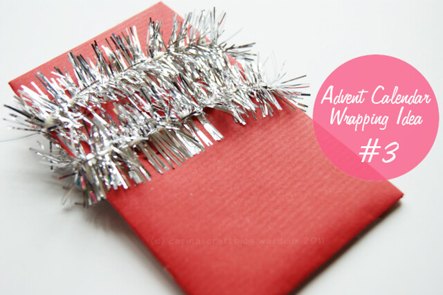 Wrapping idea: coloured kraft paper + tinsel