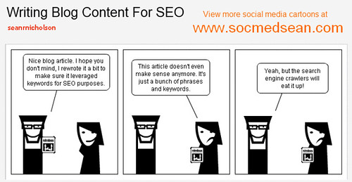 Social Media comic cartoon: Writing Blog Content For Search Engine Opimization (SEO) Medium