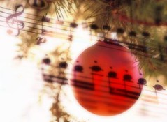 Royalty Free Hold Music for the Holidays-Red ornament with music notes on christmas tree