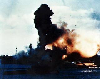 USS Arizona explodes at Pearl Harbor - 7 December 1941