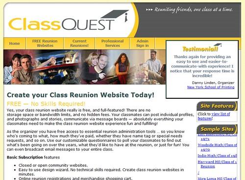 ClassQuest- FREE Class Reunion Websites