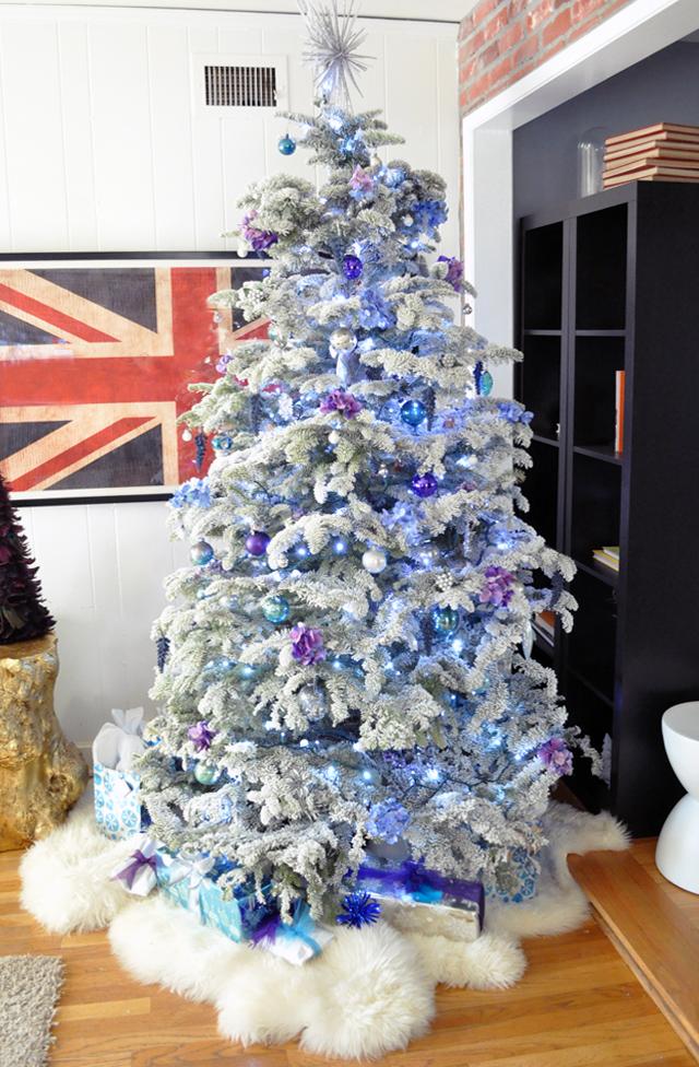 flocked christmas tree- purple and blue chirstmas