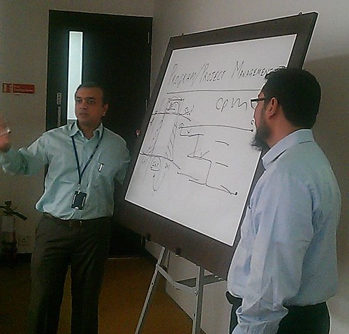 ritesh (mphasis) and sajid (octaware) standing shoulder to shoulder in the PM for NGOs workshop