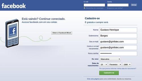 Criar um Facebook