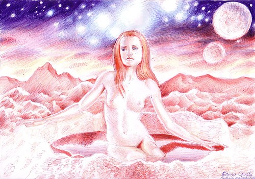 Fantezia craterului - O martianca sexy nud - O superba femeie goala pe o alta planeta - Idee din 2004