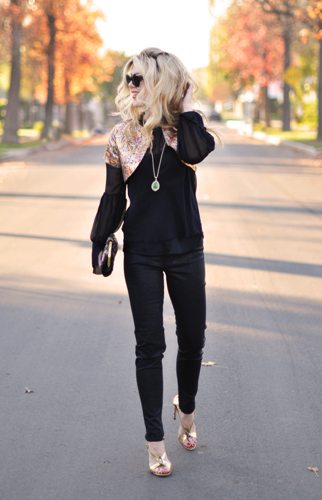 gold accessories - big hair-black outfit-j brand black jeans