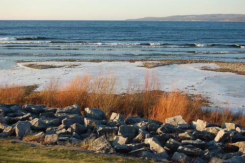 winter sunlight ice grass rock lakemichigan petoskey